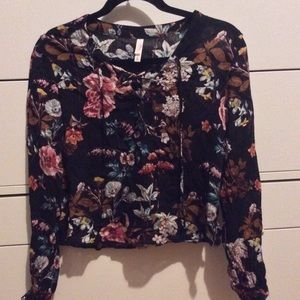 Floral drawstring long sleeve top